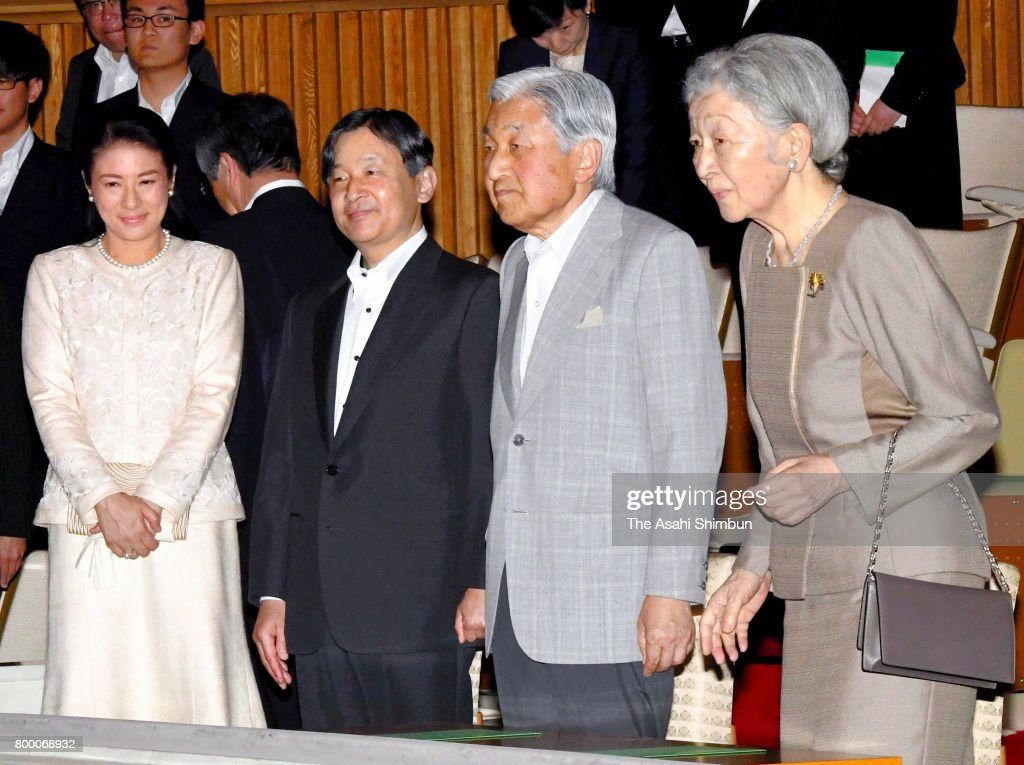 Crown Princess Masako, Crown Prince Naruhito, Emperor Akihito and Empress Michiko attend a concert by the Imperial Household Agency Music Division at the Imperial Palace on June 22, 2017 in Tokyo, Japan.