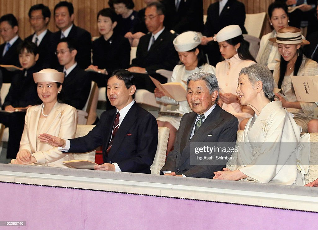 <a gi-track='captionPersonalityLinkClicked' href=/galleries/search?phrase=Crown+Princess+Masako&family=editorial&specificpeople=580174 ng-click='$event.stopPropagation()'>Crown Princess Masako</a>, <a gi-track='captionPersonalityLinkClicked' href=/galleries/search?phrase=Crown+Prince+Naruhito&family=editorial&specificpeople=158365 ng-click='$event.stopPropagation()'>Crown Prince Naruhito</a>, Emperor Akihito and <a gi-track='captionPersonalityLinkClicked' href=/galleries/search?phrase=Empress+Michiko&family=editorial&specificpeople=158725 ng-click='$event.stopPropagation()'>Empress Michiko</a> attend the Japanese folklore show at the Imperial Palace on July 13, 2014 in Tokyo, Japan. The show is hosted by <a gi-track='captionPersonalityLinkClicked' href=/galleries/search?phrase=Empress+Michiko&family=editorial&specificpeople=158725 ng-click='$event.stopPropagation()'>Empress Michiko</a> to celebrate the Emperor's 80th birthday.
