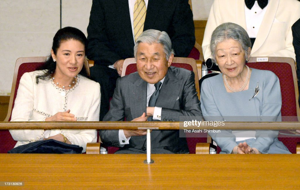 <a gi-track='captionPersonalityLinkClicked' href=/galleries/search?phrase=Crown+Princess+Masako&family=editorial&specificpeople=580174 ng-click='$event.stopPropagation()'>Crown Princess Masako</a>, Emperor Akihito and <a gi-track='captionPersonalityLinkClicked' href=/galleries/search?phrase=Empress+Michiko&family=editorial&specificpeople=158725 ng-click='$event.stopPropagation()'>Empress Michiko</a> attend the Gakushuin University Alumni Orchestra regular concert at Tokyo Metropolitan Theatre on July 7, 2013 in Tokyo, Japan.