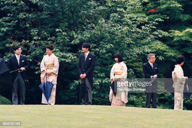 Crown Princess Masako Prince Akishino Princess Sayako Prince Hitachi and Princess Hanako of Hitachi attend the Spring Garden Party at the Akasaka...