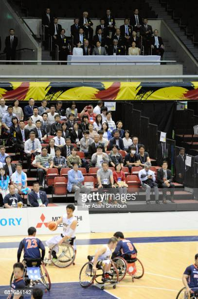Crown Princess Masako Princess Aiko and Crown Prince Naruhito visit a wheelchair basketball match at the Tokyo Metropolitan Gymnasium on May 5 2017...