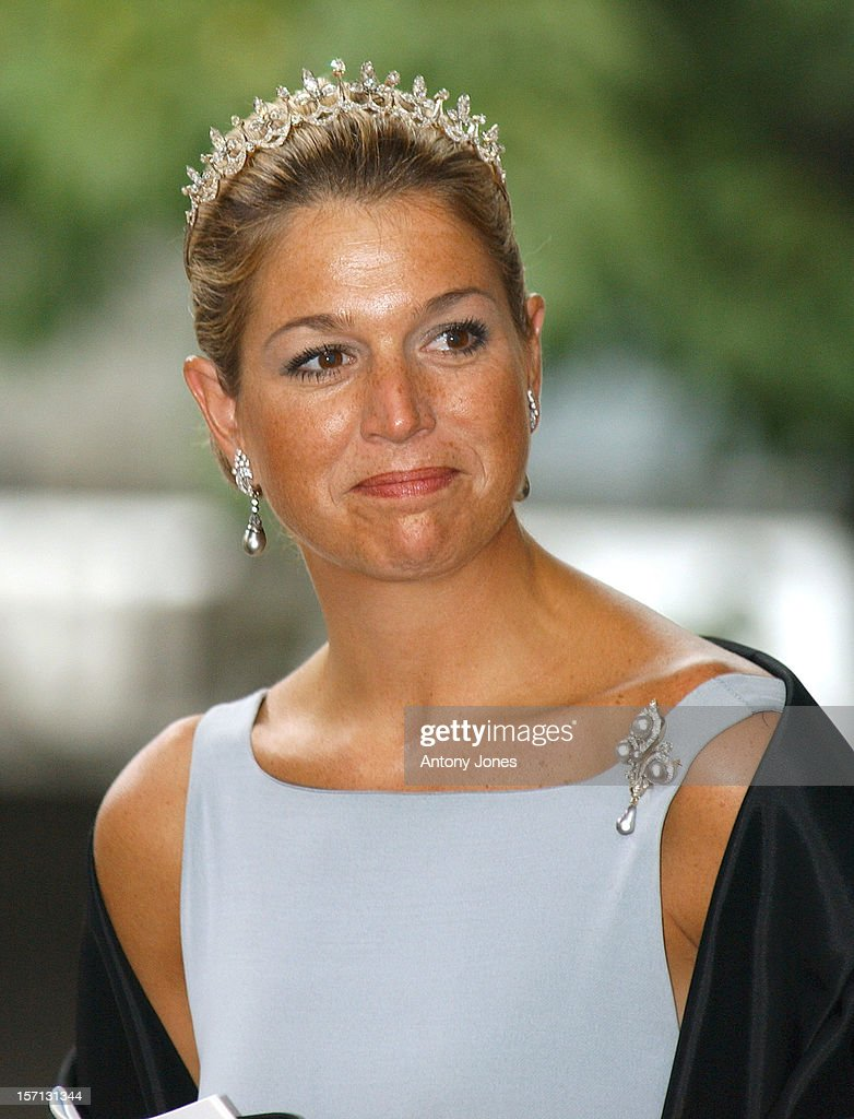 Crown Princess Maxima Of Holland Attends The Wedding Of Crown Prince Haakon Of Norway & Mette-Marit In Oslo.