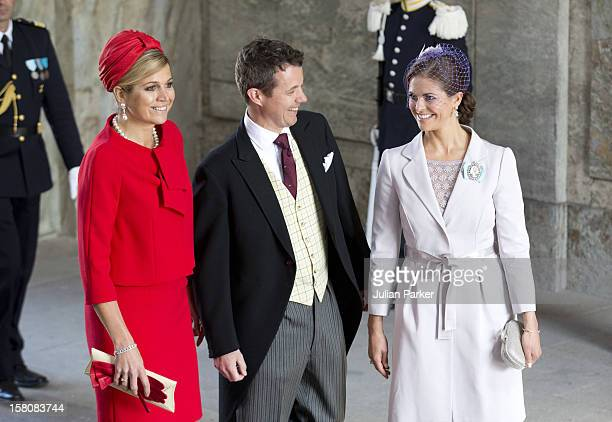 Crown Princess Maxima Of Holland Crown Prince Frederik Of Denmark And Princess Madeleine Of Sweden Arrive Arrive For The Christening Of Princess...
