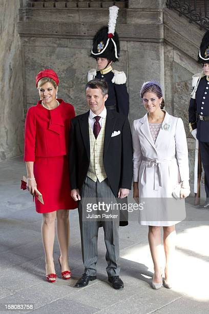 Crown Princess Maxima Of Holland Crown Prince Frederik Of Denmark And Princess Madeleine Of Sweden Arrive For The Christening Of Princess Estelle At...