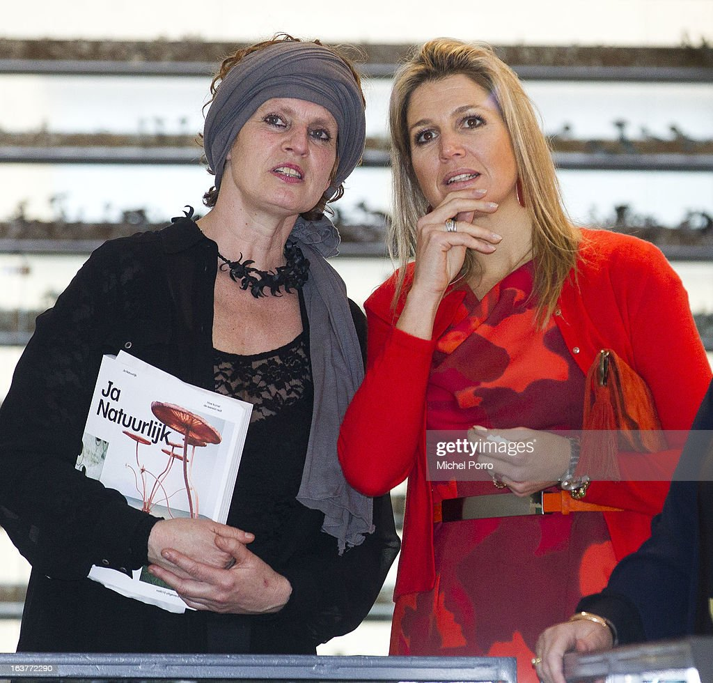 Crown Princess Maxima of The Netherlands and Ine Gevers open the 'Yes Naturally' art manifestation on March 15, 2013 in The Hague, Netherlands.