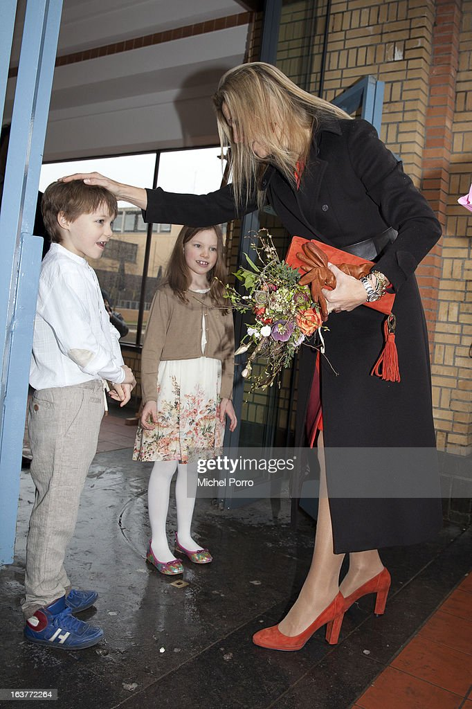 Crown Princess Maxima of The Netherlands is welcomed by children before opening the 'Yes Naturally' art manifestation on March 15, 2013 in The Hague, Netherlands.