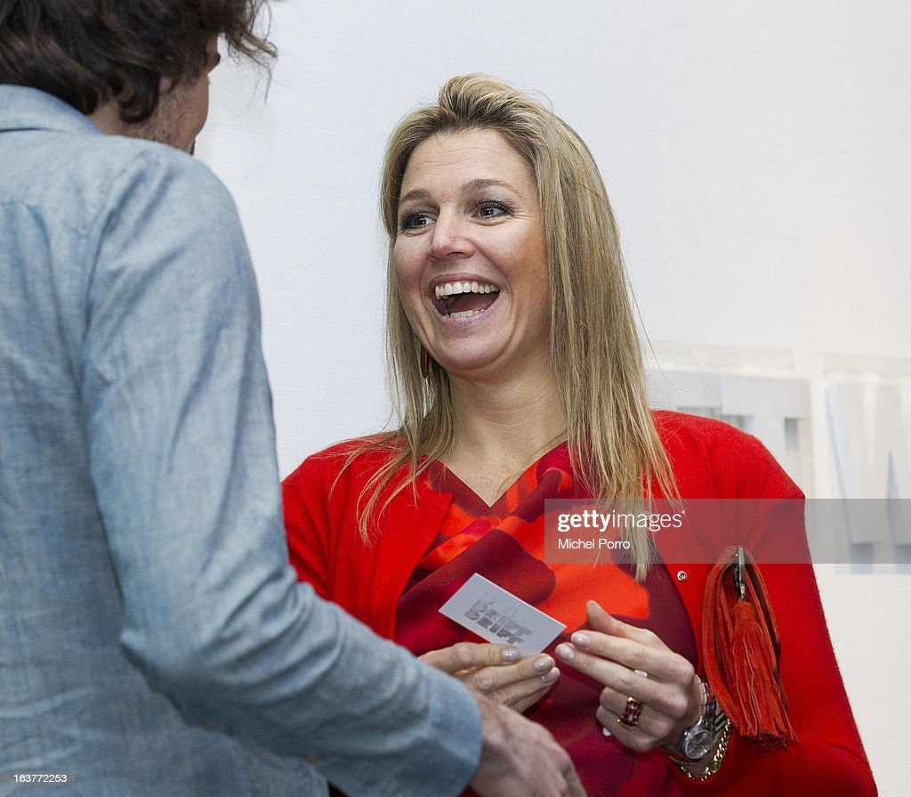 Crown Princess Maxima of The Netherlands meets with artists while opening the 'Yes Naturally' art manifestation on March 15, 2013 in The Hague, Netherlands.