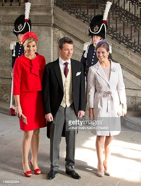 Crown Princess Maxima of the Netherlands Prince Frederik of Denmark and Princess Madeleine of Sweden arrive on May 22 2012 for the christening of...