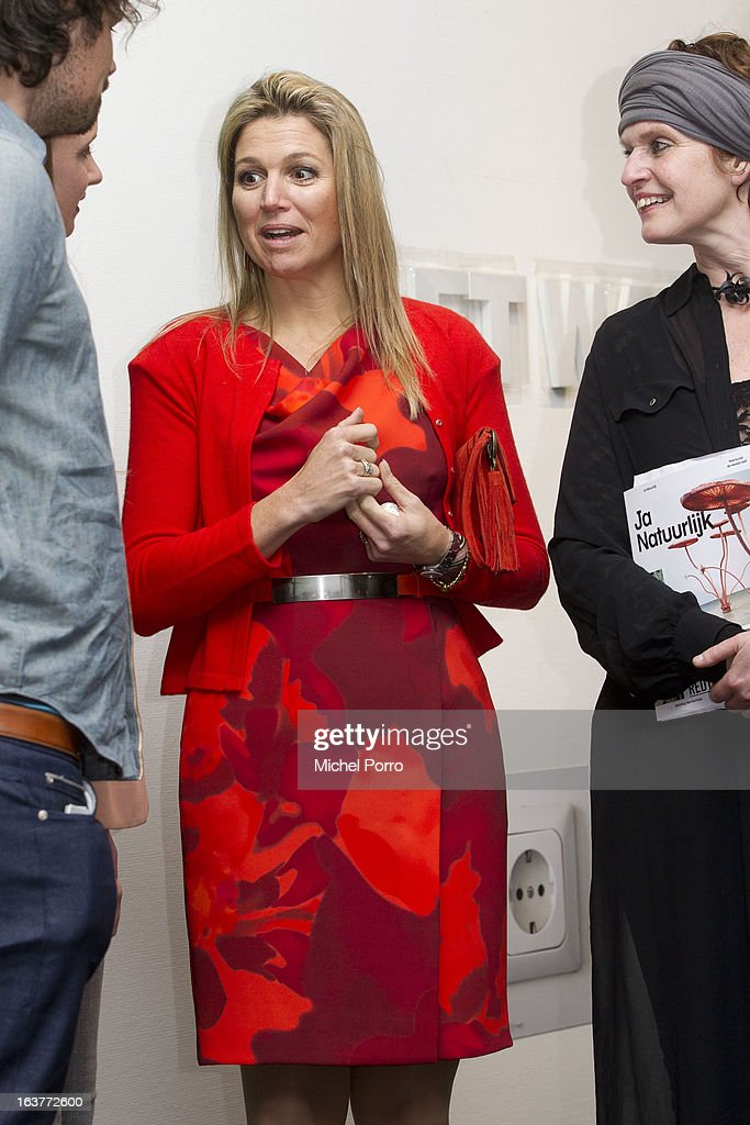 Crown Princess Maxima of The Netherlands talks with artists during open the 'Yes Naturally' art manifestation on March 15, 2013 in The Hague, Netherlands.