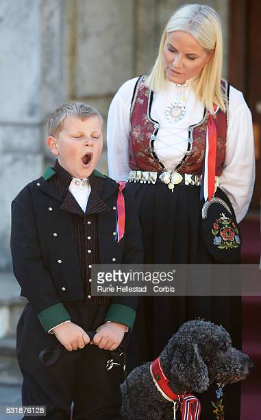 Crown Princess Mette Marit and Prince Sverre Magnus attend the celebration of the Norwegian National Day at the Norwegian Royal Residence Skaugum on...