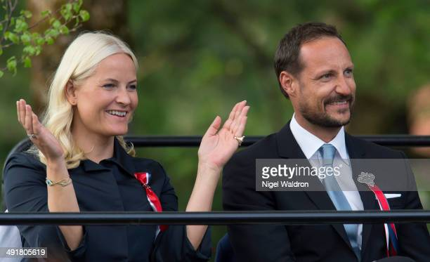 Crown Princess Mette Marit of Norway and Crown Prince Haakon of Norway are seen during the show at the celebration of the constitutional Bicentenary...