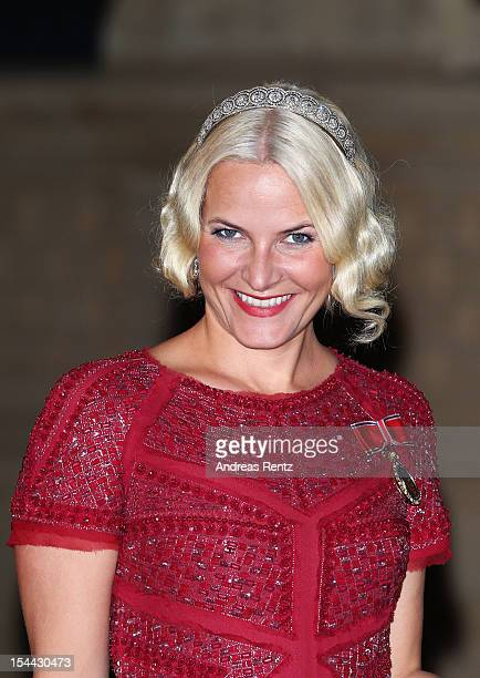 Crown Princess Mette Marit of Norway attends the Gala dinner for the wedding of Prince Guillaume Of Luxembourg and Stephanie de Lannoy at the...