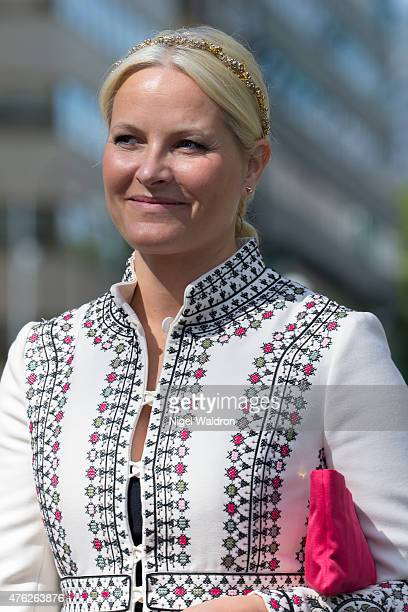 Crown Princess Mette Marit of Norway attends the unveiling of a statue of King Olav V at the City Hall Square on June 7 2015 in Oslo Norway