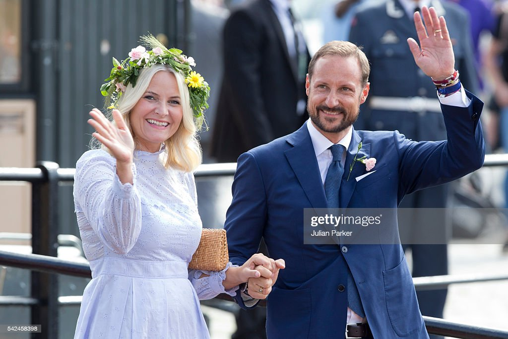 Crown Princess Mette-Marit, and Crown Prince Haakon of Norway depart for the Norwegian Royal Yacht, KS Norge, after a day of events in Trondheim, during the King and Queen of Norway's Silver Jubilee Tour, on June 23, 2016 in Trondheim, Norway.