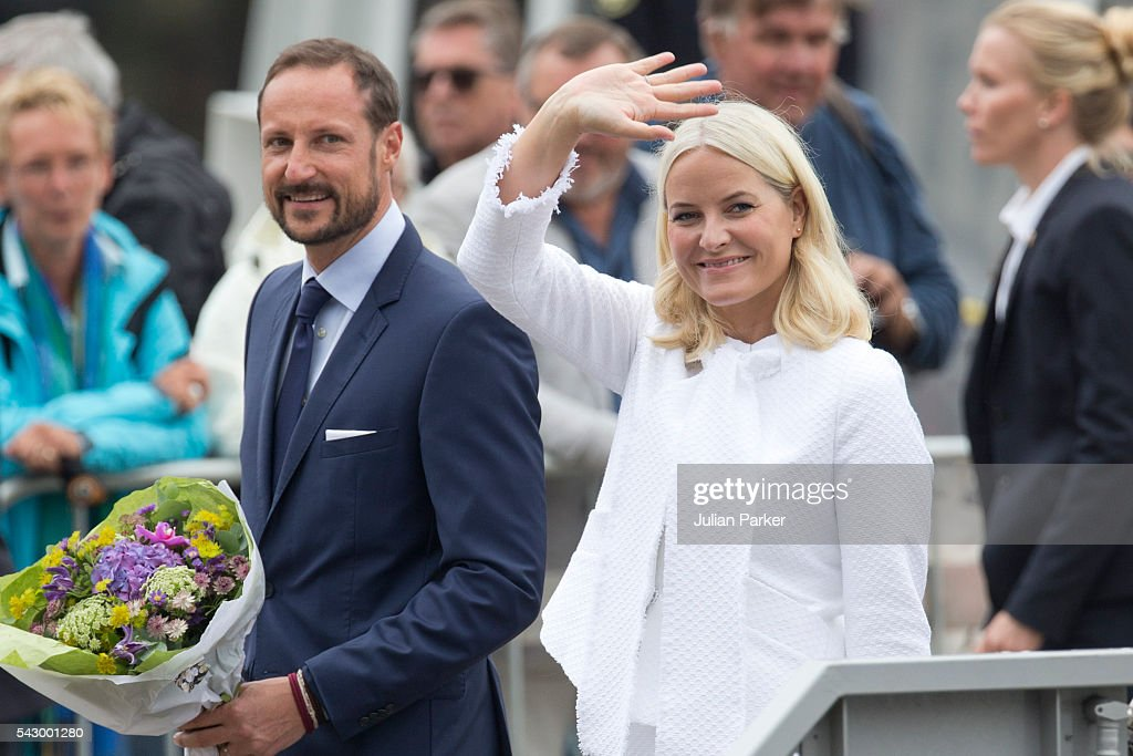 Crown Princess Mette-Marit, and Crown Prince Haakon of Norway, on a visit to Bergen, during the King and Queen of Norway's Silver Jubilee Tour, on June 25, 2016 in Bergen, Norway.