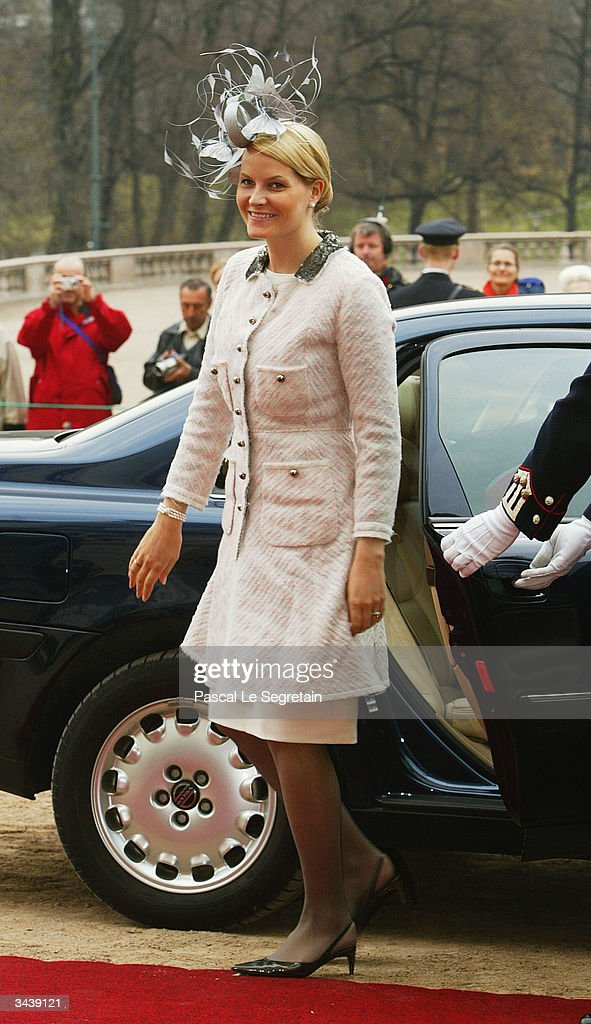 Crown Princess Mette-Marit arrives at Princess Ingrid Alexandra's christening at the chapel inside The Royal Palace on April 16, 2004 in Oslo, Norway. The Princess was born on January 21, 2004 and is second in line to the throne.