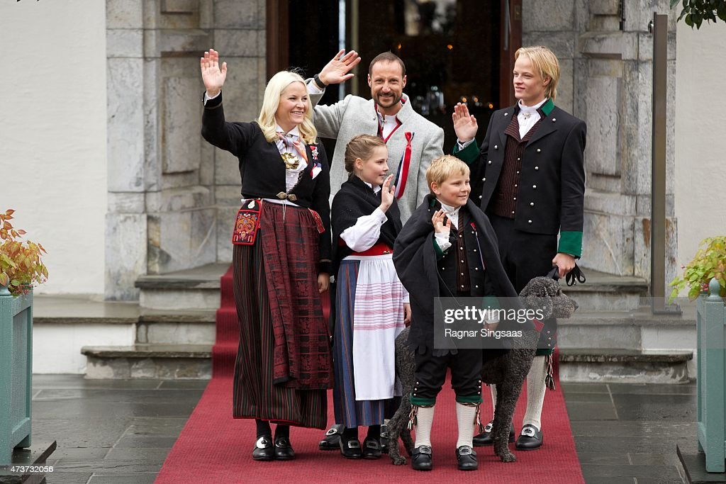 Crown Princess Mette-Marit, Crown Prince Haakon of Norway, Princess Ingrid Alexandra, Prince Sverre Magnus and Marius Hoiby celebrate the National Day on May 17, 2015 in Asker, Norway.