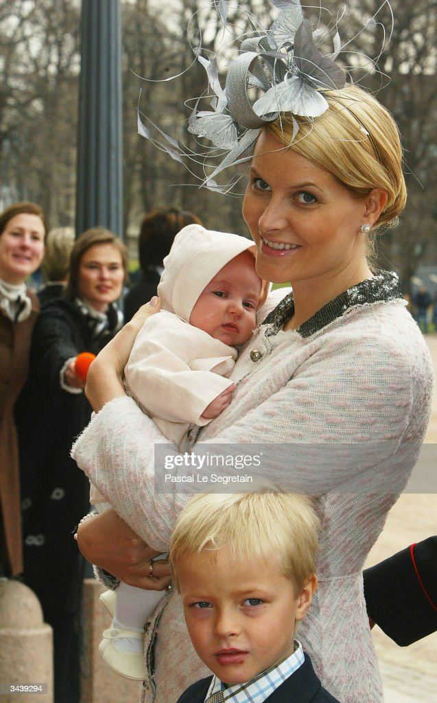 Crown Princess Mette-Marit holding Princess Ingrid Alexandra and her half-brother Marius Hoiby as they arrive at the christening of Princess Ingrid Alexandra - daughter of Crown Prince Haakon and Crown Princess Mette-Marit - at the chapel inside The Royal Palace on April 17, 2004 in Oslo, Norway. The Princess was born on January 21, 2004 and is second in line to the throne.