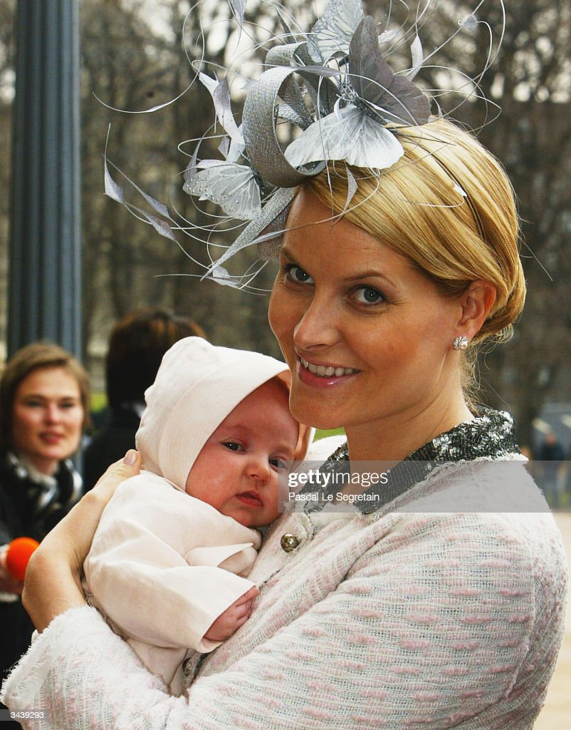 Crown Princess Mette-Marit holding Princess Ingrid Alexandra as they arrive at the christening of Princess Ingrid Alexandra - daughter of Crown Prince Haakon and Crown Princess Mette-Marit - at the chapel inside The Royal Palace on April 17, 2004 in Oslo, Norway. The Princess was born on January 21, 2004 and is second in line to the throne.