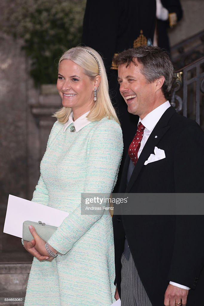 Crown Princess Mette-Marit of Norway and Crown Prince Frederik of Denmark are seen after the christening of Prince Oscar of Sweden at Royal Palace of Stockholm on May 27, 2016 in Stockholm, Sweden.