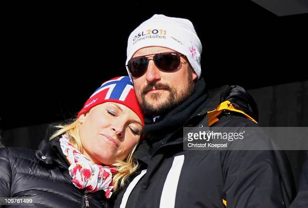 Princess MetteMarit of Norway and Prince Haakon of Norway attend the Men's Cross Country 4x10km Relay race during the FIS Nordic World Ski...