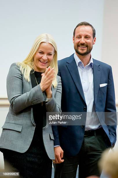 Crown Princess MetteMarit of Norway and Crown Prince Haakon of Norway visit Arbeidsinstituttet a local labour institute that offers courses in a...