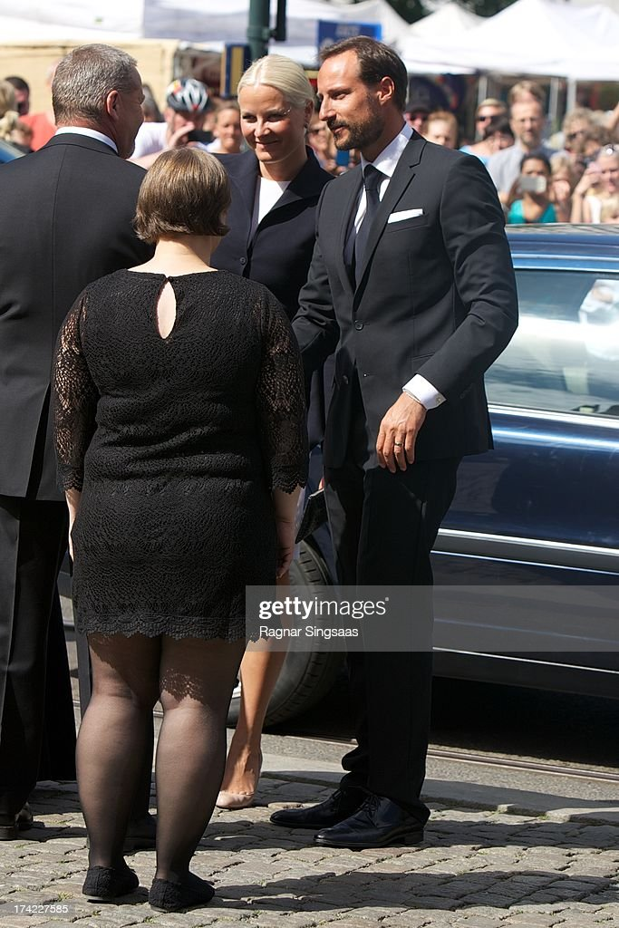 Crown Princess Mette-Marit of Norway and Crown Prince Haakon of Norway attend a memorial service for the victims of the 2011 terrorist attacks on July 22, 2013 in Oslo, Norway.