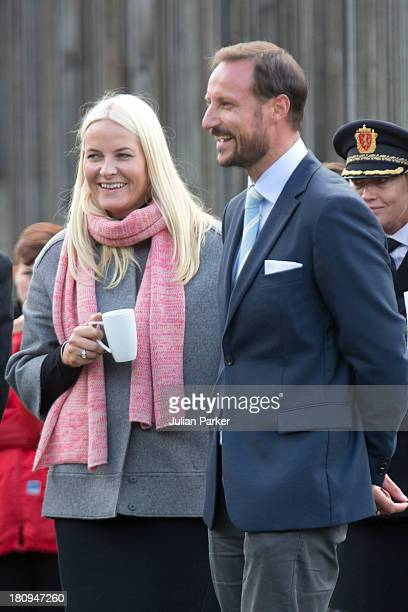 Crown Princess MetteMarit of Norway and Crown Prince Haakon of Norway visit the town of Aseral on the second day of their county visit to VestAgder...