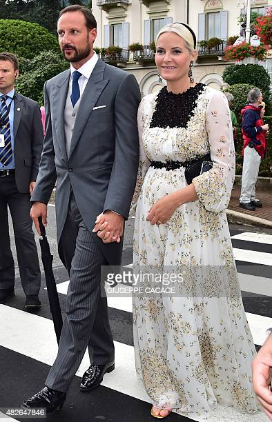 Crown Princess MetteMarit of Norway and Crown Prince Haakon of Norway leave the Hotel Des Iles Borromees for the religious wedding ceremony of Pierre...