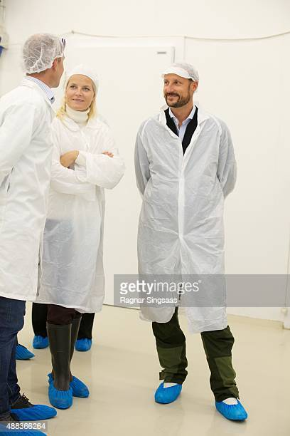 Crown Princess MetteMarit of Norway and Crown Prince Haakon of Norway visit Kulinaris in Oppegard on an official county visit to Akershus on...