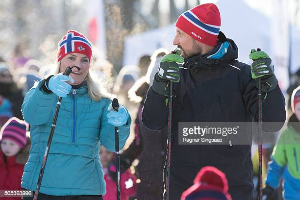 Crown Princess MetteMarit of Norway and Crown Prince Haakon of Norway seen skiing outside the Royal Palace while celebrating the 25th anniversary of...