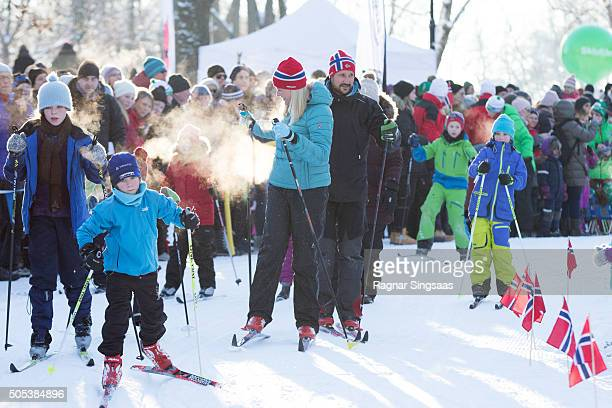 Crown Princess MetteMarit of Norway and Crown Prince Haakon of Norway attend Winter Games activities outside the Royal Palace while celebrating the...