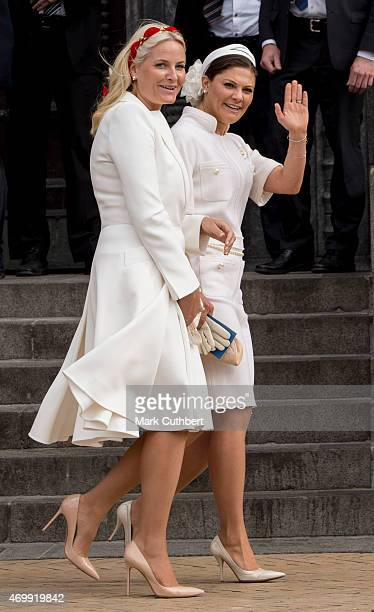 Crown Princess MetteMarit of Norway and Crown Princess Victoria of Sweden leave the Town Hall after lunch during festivities for the 75th birthday of...