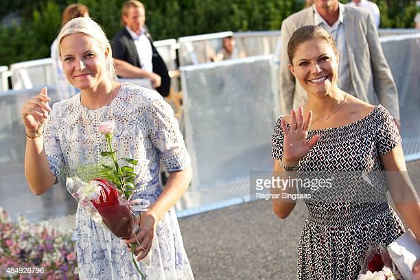 Crown Princess MetteMarit of Norway and Crown Princess Victoria of Sweden take Part in Climate Pilgrimage on August 22 2015 in Stromstad Sweden
