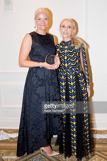 Crown Princess MetteMarit of Norway and editorinchief of Vogue Italia Franca Sozzani attends the amfAR Inspiration Gala New York 2014 at The Plaza...