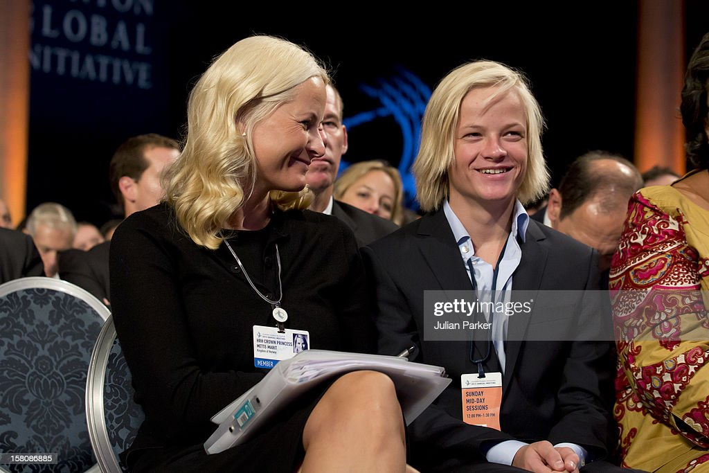 Crown Princess Mette-Marit Of Norway And Her Son Marius Borg Hoiby Attending The Opening Session Of The Clinton Global Initiative 'Designing For Impact ' At The Sheraton Hotel And Towers In New York, Usa.