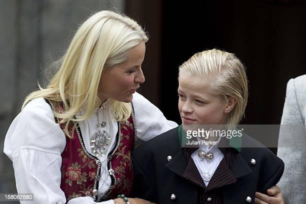 Crown Princess MetteMarit Of Norway And Her Son Marius Celebrate Norway National Day At Skaugum In Asker Norway