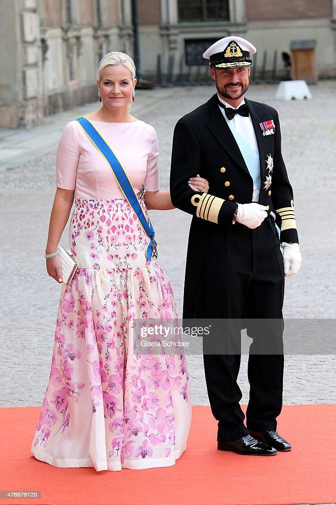 Crown Princess Mette-Marit of Norway and husband Crown Prince Haakon of Norway attend the royal wedding of Prince Carl Philip of Sweden and Sofia Hellqvist at The Royal Palace on June 13, 2015 in Stockholm, Sweden.