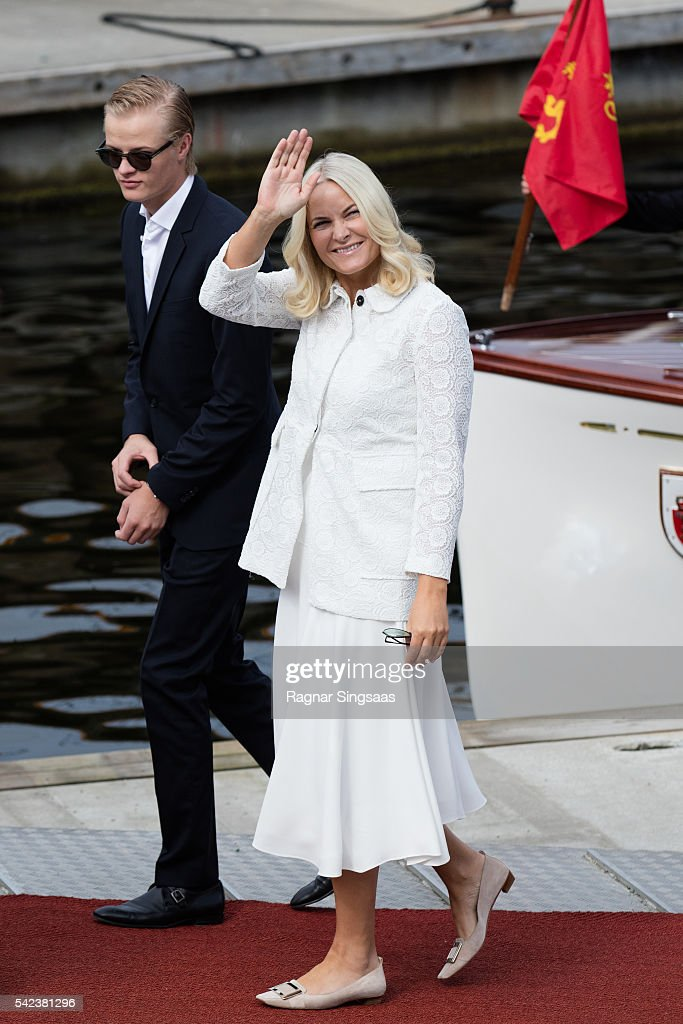Crown Princess Mette-Marit of Norway and Marius Borg Hoiby arrive at Ravnakloa fish market with Marius Borg Hoiby on June 23, 2016 in Trondheim, Norway.