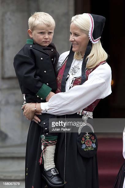 Crown Princess MetteMarit Of Norway And Prince Sverre Magnus Celebrate Norway National Day At Skaugum In Asker Norway