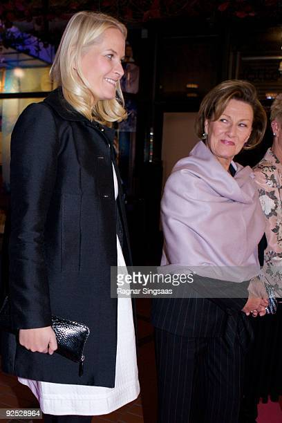 Crown Princess MetteMarit of Norway and Queen Sonja of Norway attend a charity gala on October 29 2009 in Oslo Norway
