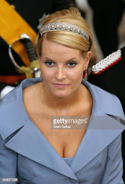 Crown Princess MetteMarit of Norway arrive to attend the wedding between Danish Crown Prince Frederik and Miss Mary Elizabeth Donaldson in Copenhagen...