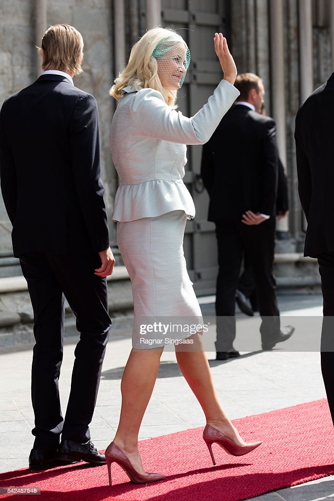 Crown Princess Mette-Marit of Norway attends a celebratory church service in the Nidaros Cathedral during the Royal Silver Jubilee Tour on June 23, 2016 in Trondheim, Norway.
