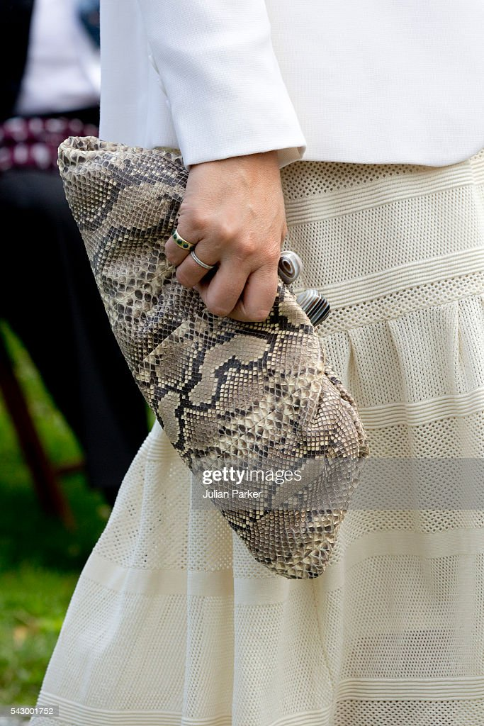 Crown Princess Mette-Marit of Norway ( handbag detail ) attends a Garden Party at the Royal Residence of Gamlehaugen, on a visit to Bergen, during the King and Queen of Norway's Silver Jubilee Tour, on June 25, 2016 in Bergen, Norway.