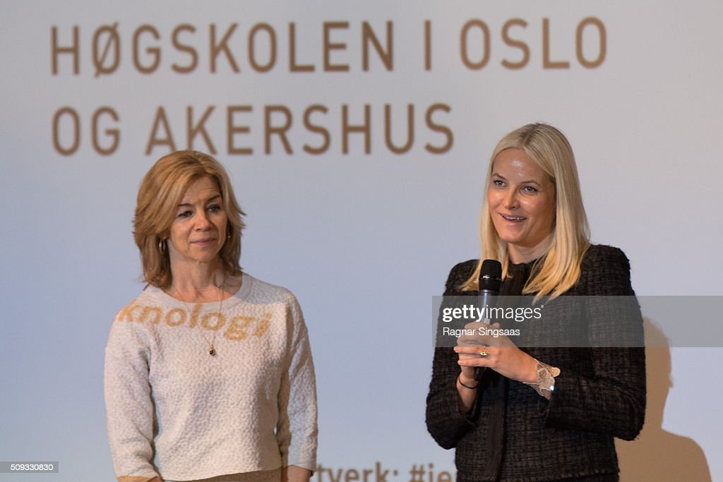 Crown Princess Mette-Marit of Norway (R) attends 'Girls And Technology' Conference on February 10, 2016 in Oslo, Norway.