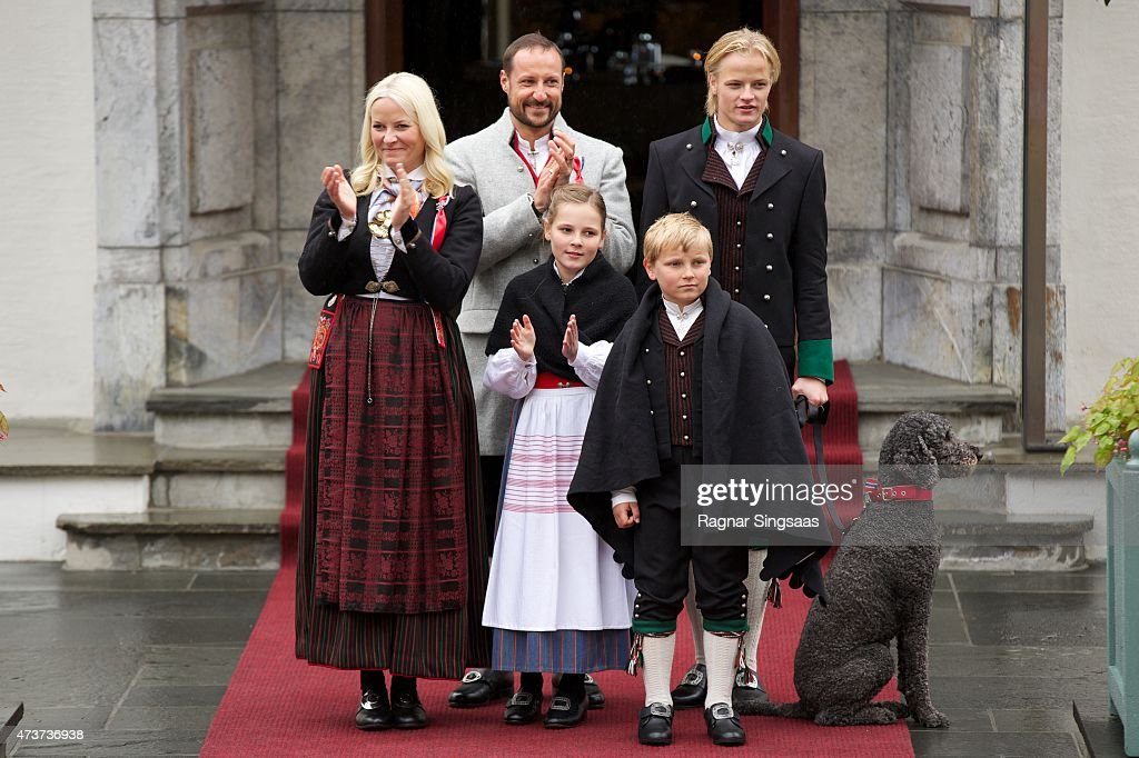 Crown Princess Mette-Marit of Norway, Crown Prince Haakon of Norway, Princess Ingrid Alexandra of Norway, Marius Borg Hoiby and Prince Sverre Magnus of Norway Celebrate National Day In Asker on May 17, 2015 in Asker, Norway.