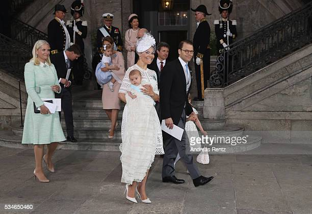 Crown Princess MetteMarit of Norway Crown Princess Victoria of Sweden holds Prince Oscar Duke of Skane and Prince Daniel Duke of Vastergotland with...