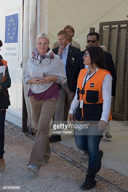 Crown Princess MetteMarit of Norway on a two day visit to Jordan at Zaatari Refugee Camp on October 21 2014 in Mafraq Jordan