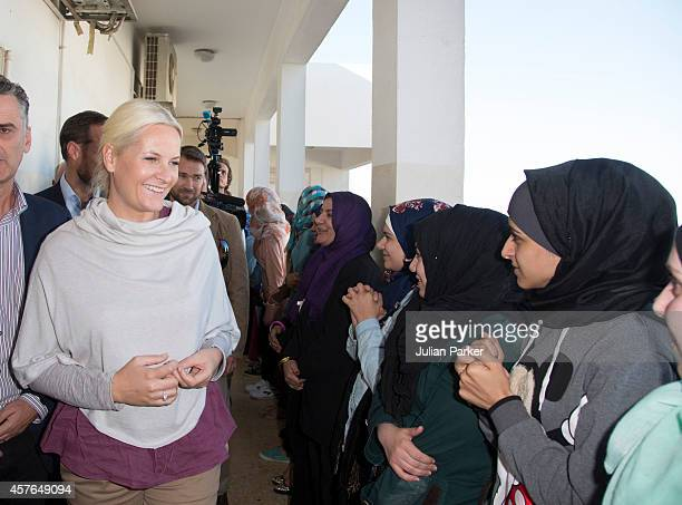 Crown Princess MetteMarit of Norway on a two day visit to Jordan visit The Save the Children Vocational Training Centre in East Amman at on October...