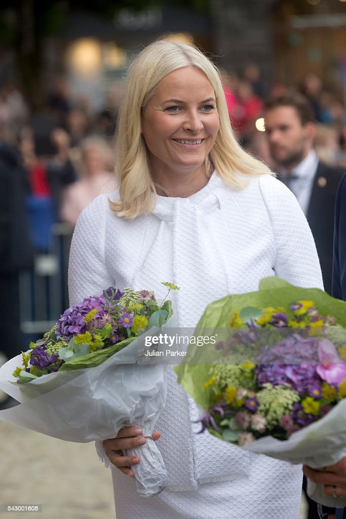 Crown Princess Mette-Marit, of Norway, on a visit to Bergen, during the King and Queen of Norway's Silver Jubilee Tour, on June 25, 2016 in Bergen, Norway.